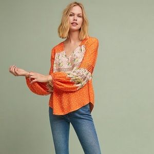 NWT Anthro Maeve Ceresco peasant top 🍊